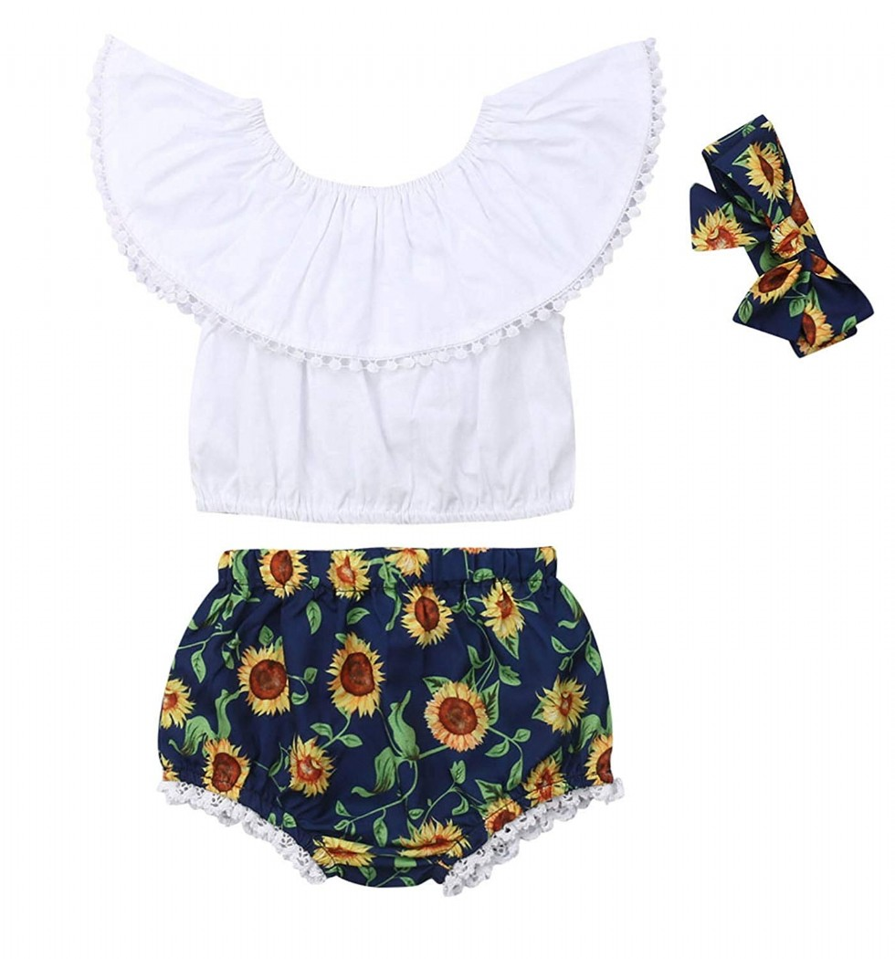Newborn Toddler Baby Girl Summer Clothes Ruffle Off Shoulder Crop Tops Sunflower Shorts Headband Outfits