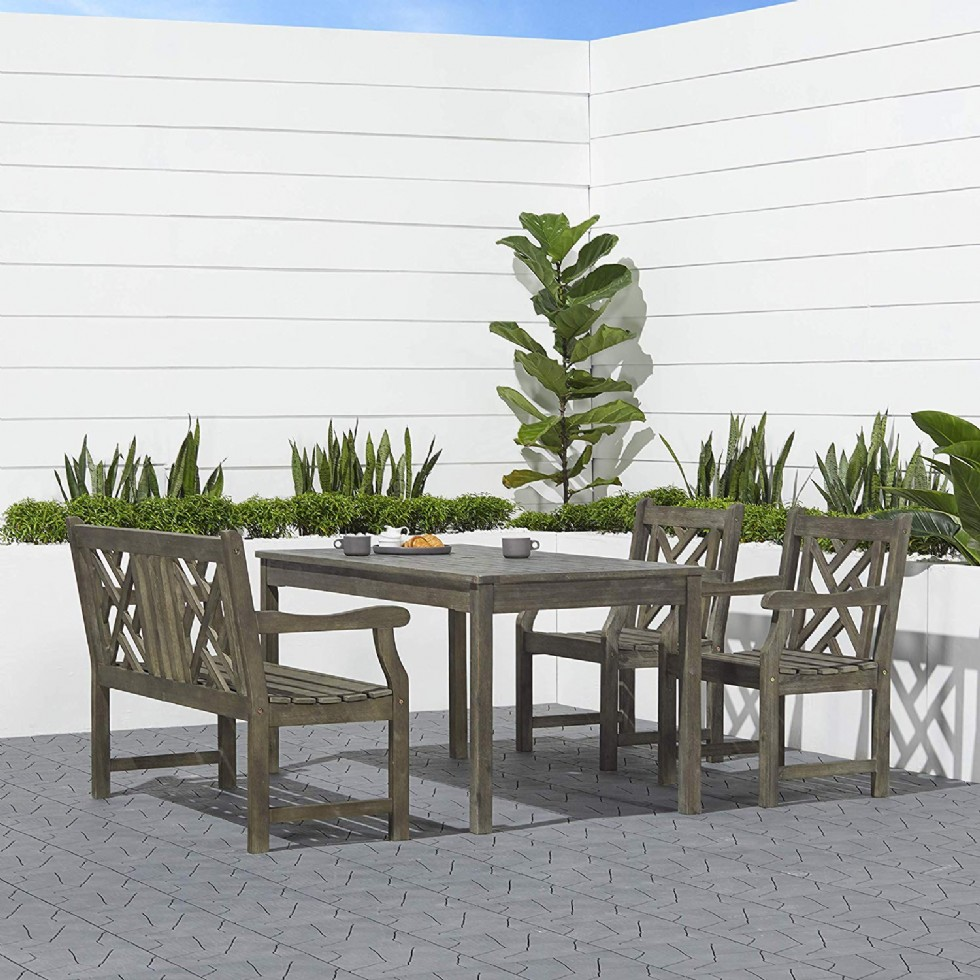 Outdoor 4-Piece Hand-Scraped Wood Patio Dining Set with 4-Foot Bench