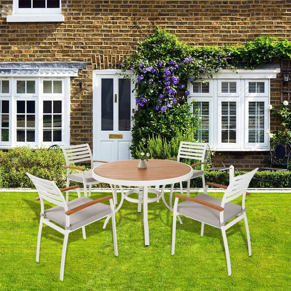 Outdoor 5 Piece Patio Dining Set, Aluminum Dining Table and Chairs Furniture Set with Grey Cushions