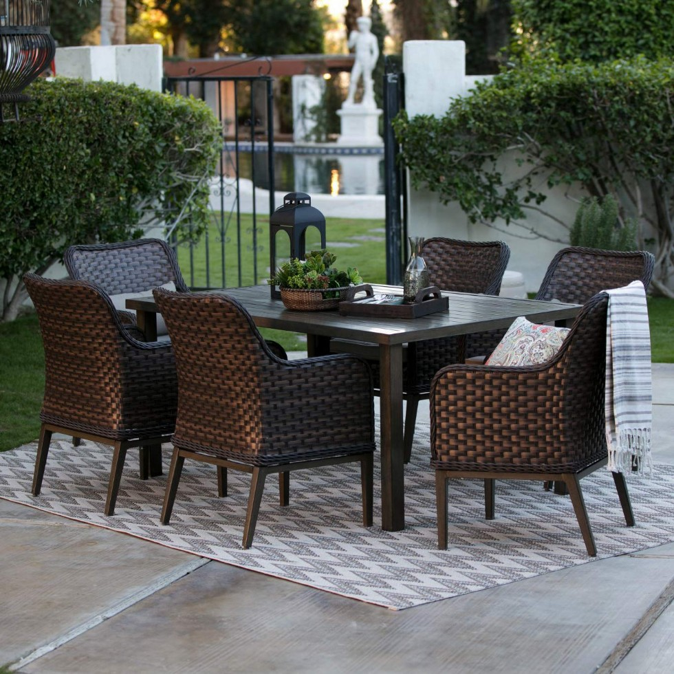 Outdoor Furniture Kit Of Steel Frame, Resin Wicker For Porch, Lawn, Pool, Garden, Balcony Diner, Seating 6 Person