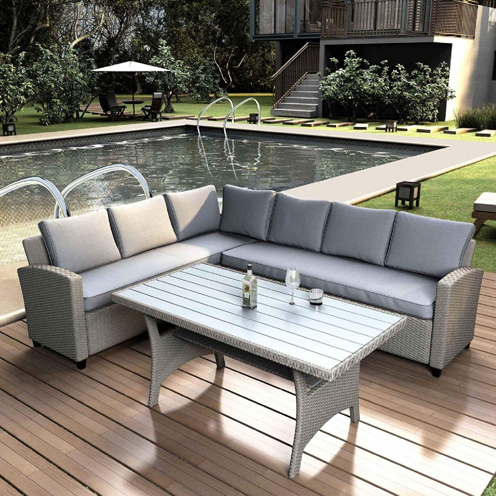 Outdoor Patio Dining Wicker Rattan Sofa Set with Table Modern Design Grey