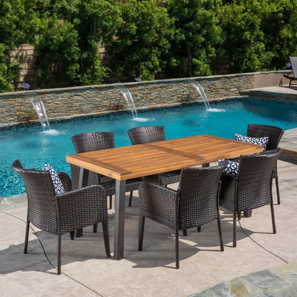 Outdoor Patio Furniture 7 Piece Dining Set Acacia Wood Table And 6 Wicker Chairs