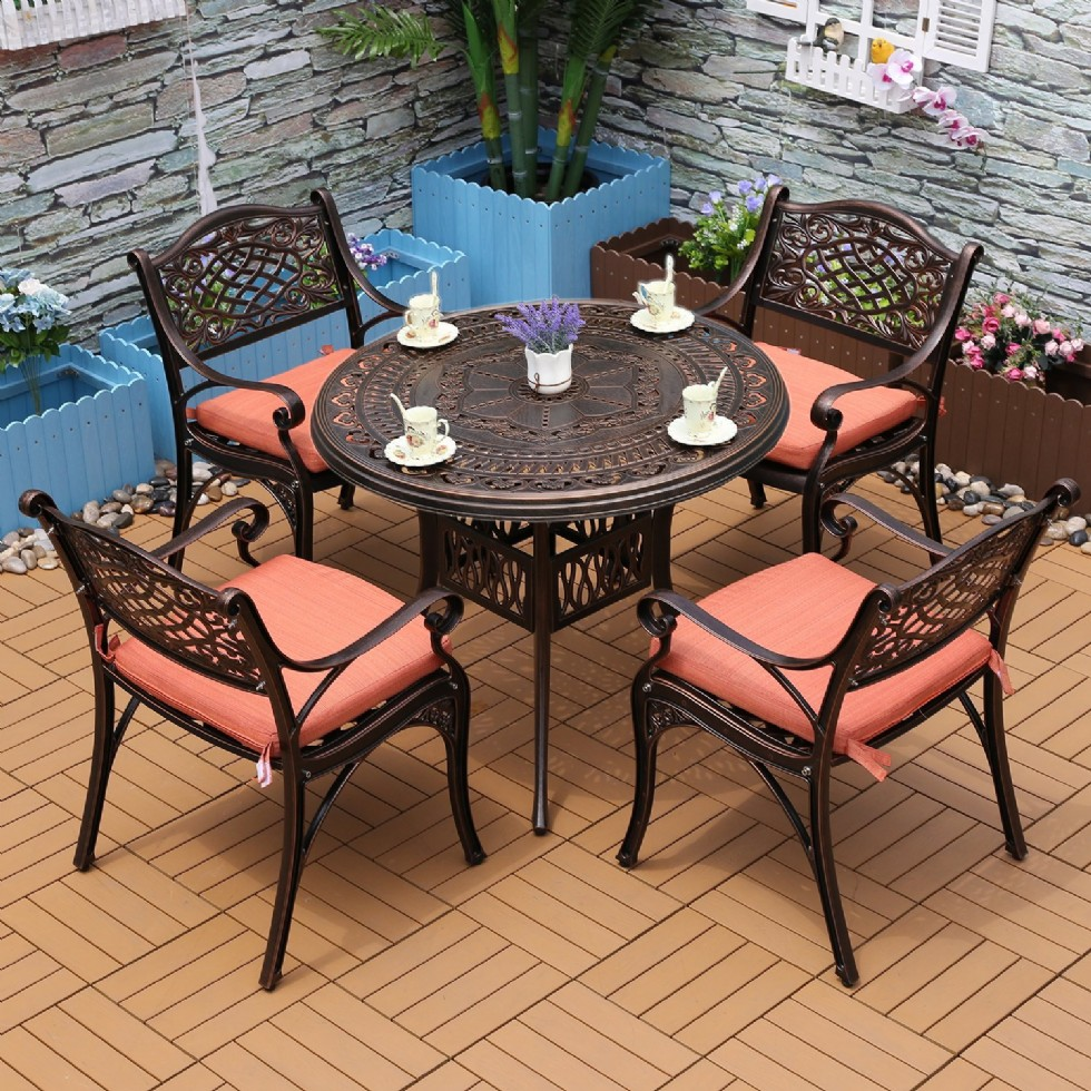 Outdoor Patio Furniture Cast Aluminum Dining Set Patio Dining Table Chair Color is Antique Bronze