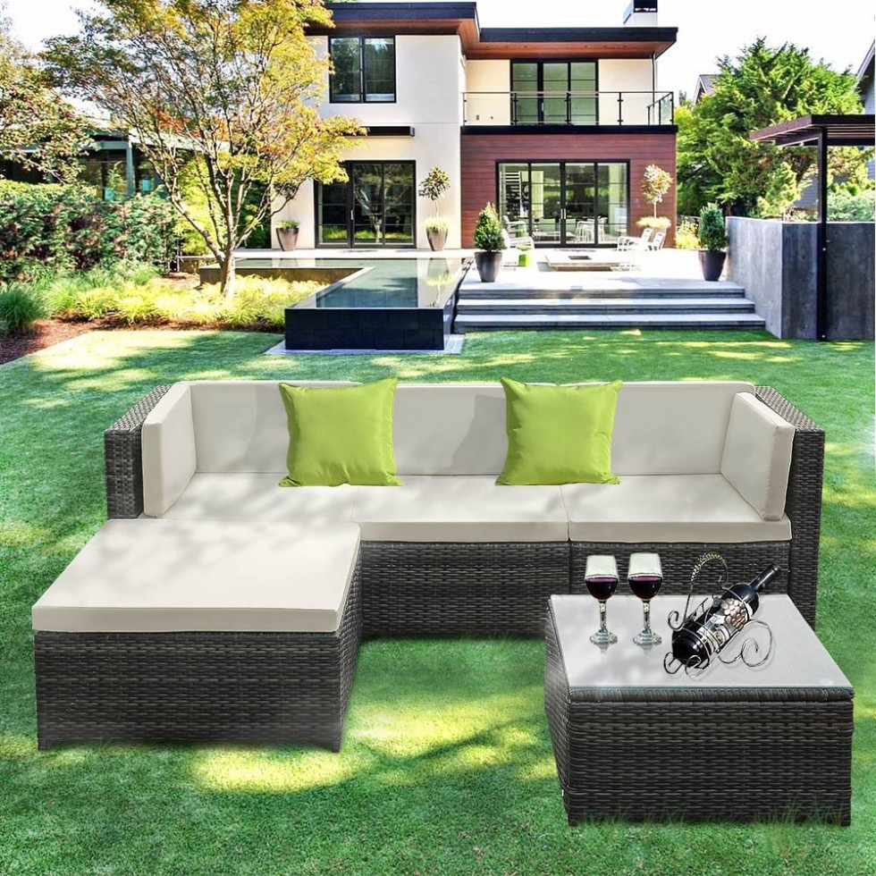 Outdoor Patio Furniture Set, 5 Piece Wicker Rattan Garden Sectional Sofa with Soft Cushions, Glass Coffee Table