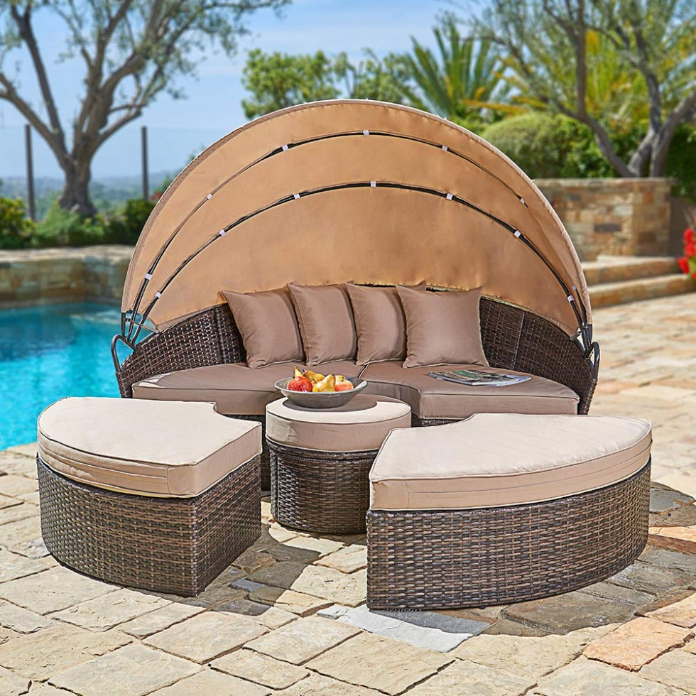 Outdoor Patio Round Daybed with Retractable Canopy, Brown Wicker Furniture Clamshell Sectional Seating with Washable Cushions, Backyard, Porch, Pool