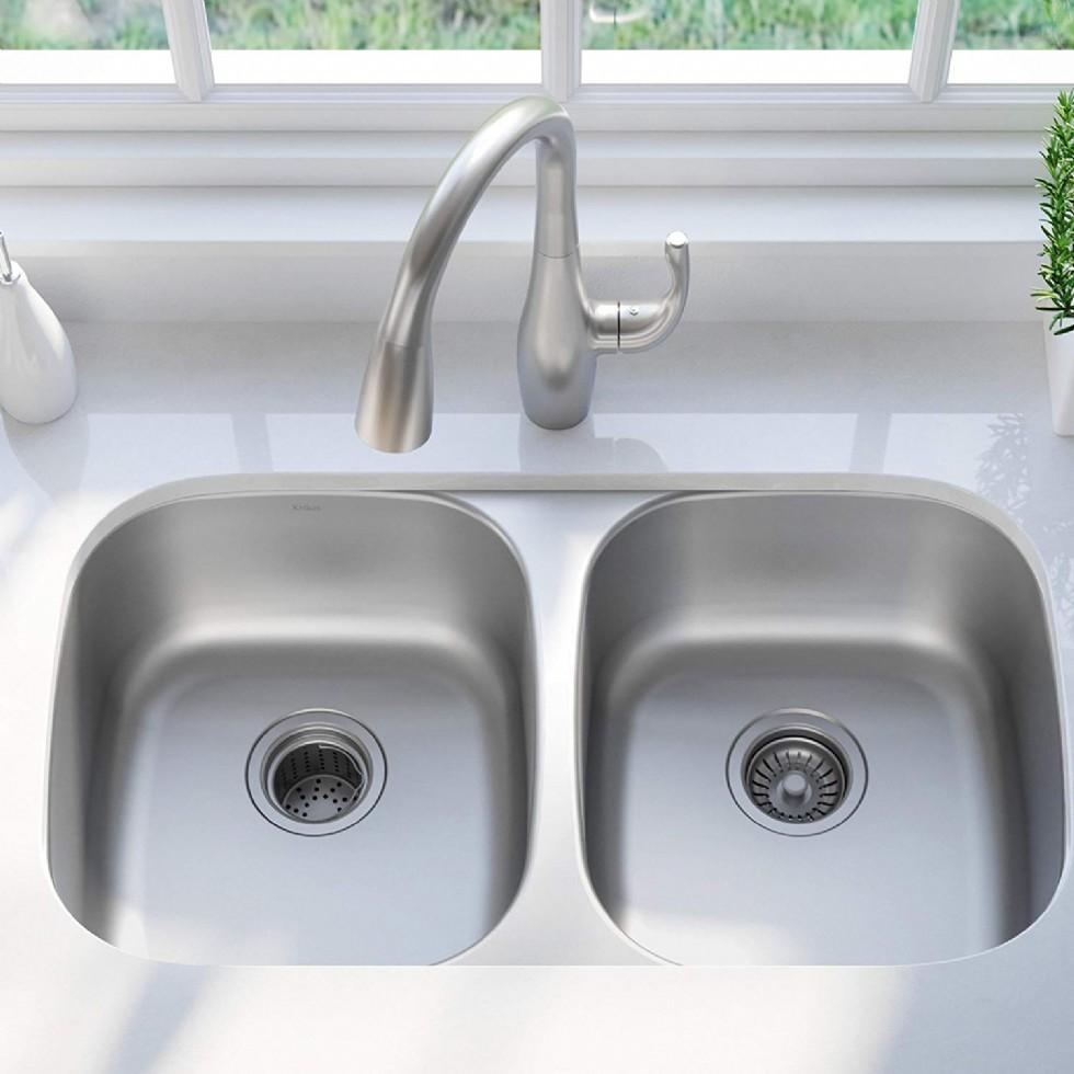 Outlast MicroShield Scratch-Resist Stainless Steel Undermount Double Bowl Sink