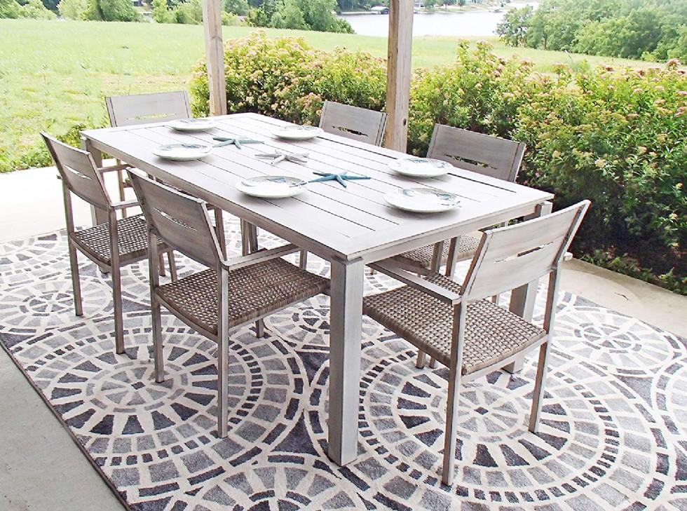 Pebble Lane Living All Weather Rust Proof Indoor/Outdoor 7 Piece Cast Aluminum Patio Dining Set