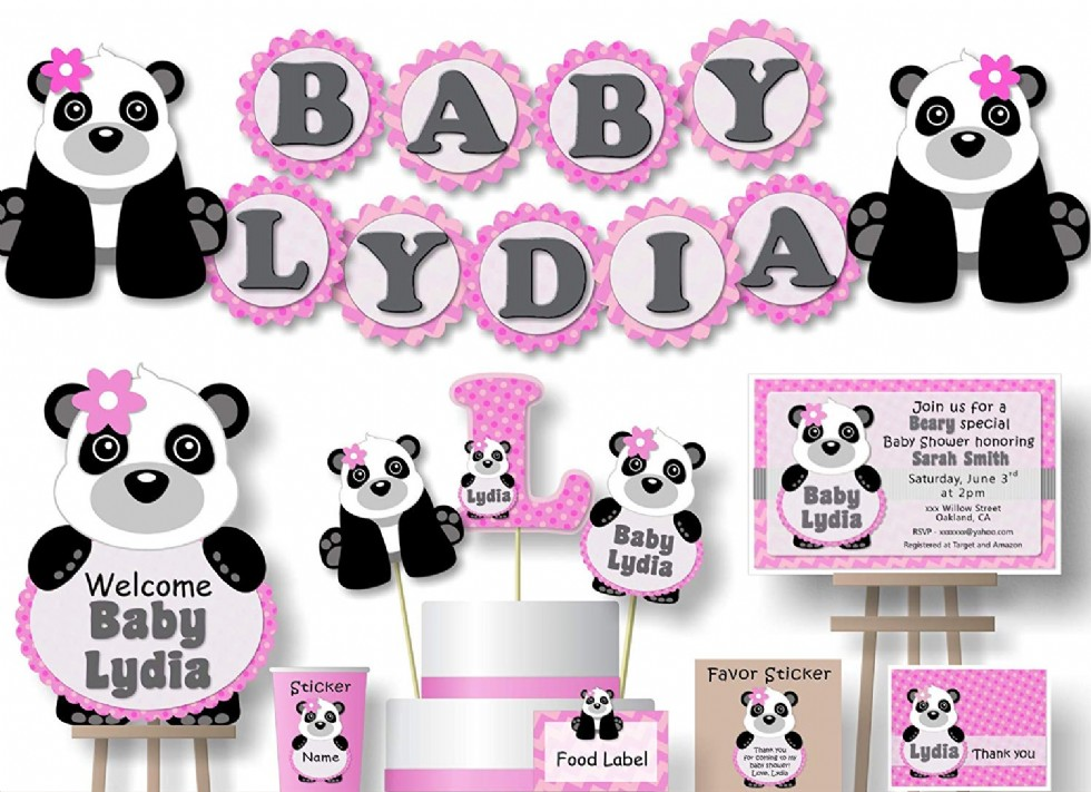 Personalized Panda Baby Shower or Birthday Party Decorations for Girl