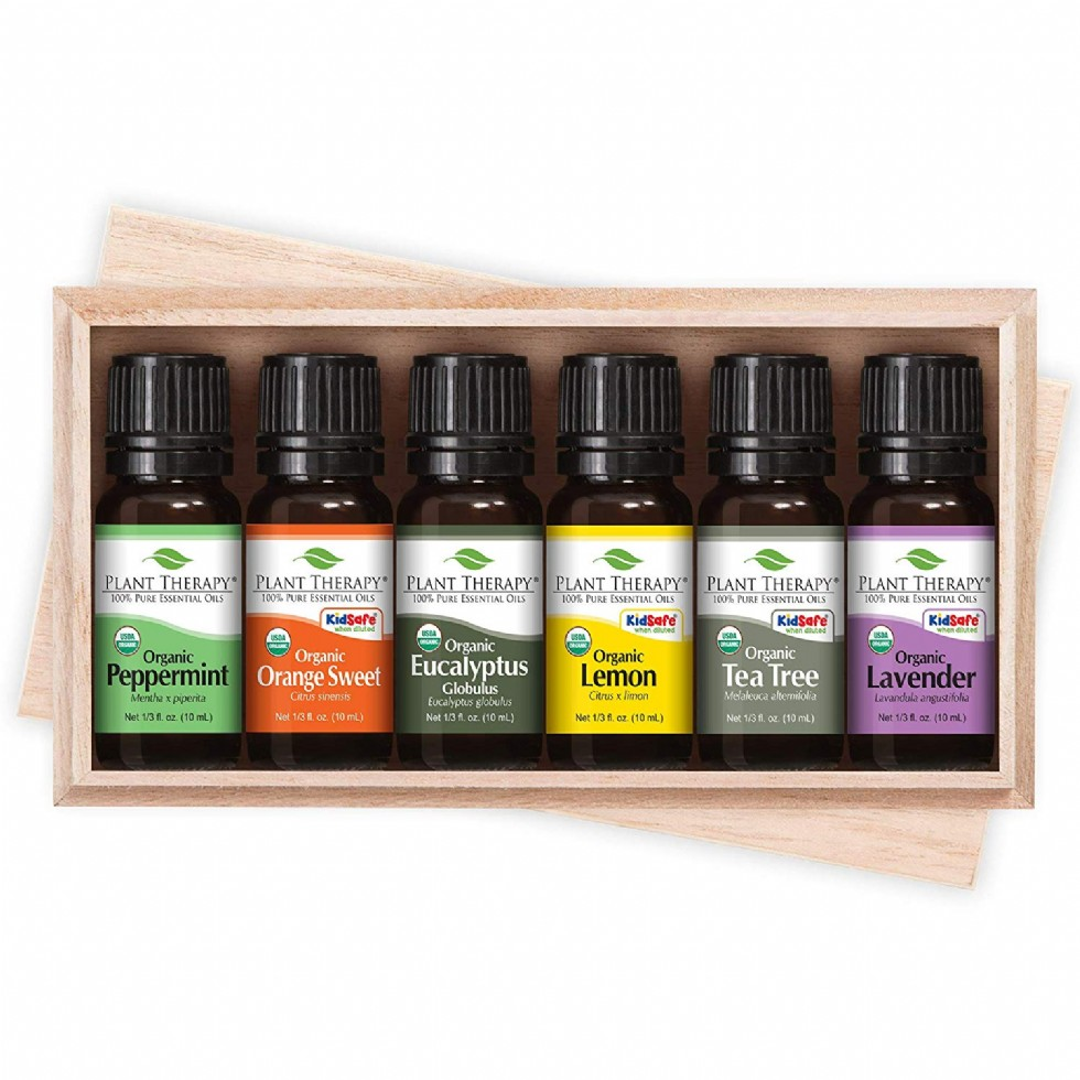 Plant Therapy Top 6 Organic Essential Oils Set with Black NovaFuse Diffuser 100% Pure, Undiluted, Therapeutic Grade Essential Oils