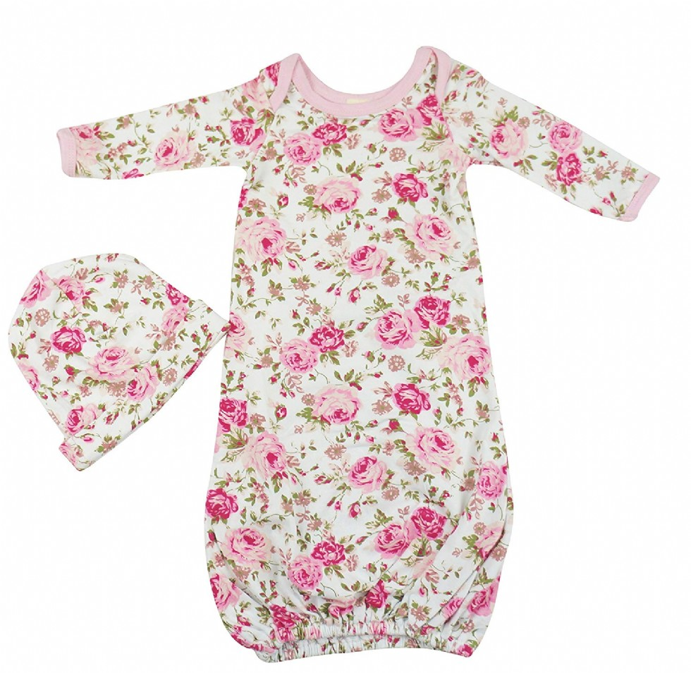 Posh Peanut Newborn Baby Gowns Set for Girls - Cute Little Sleeper with Beanie - Makes a Great Swaddle Sleep Sack