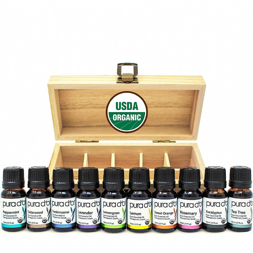 PURA D'OR Essential Oils Wood Box 10mL 10-Set 100% Pure USDA Organic Therapeutic Grade (Tea Tree, Lemon, Lavender, Sweet Orange, Rosemary, Lemongrass