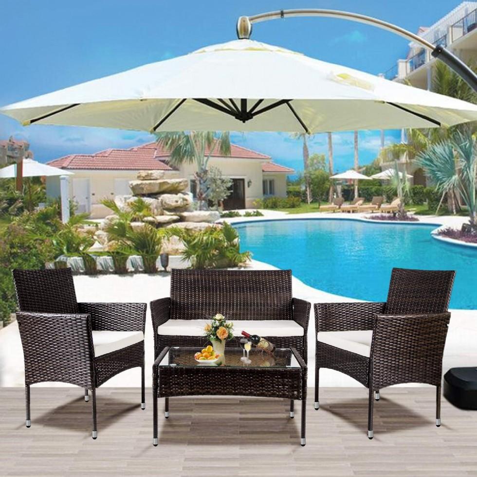 Rattan Patio Furniture Set Outdoor Garden Cushioned Seat Wicker Sofa (Brown)