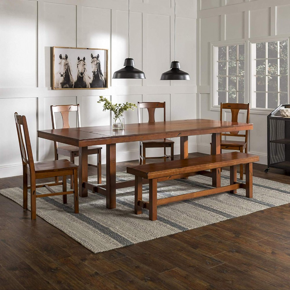 Rustic Farmhouse Rectangle Wood Dining Room Table Set with Leaf Extension, Brown Oak