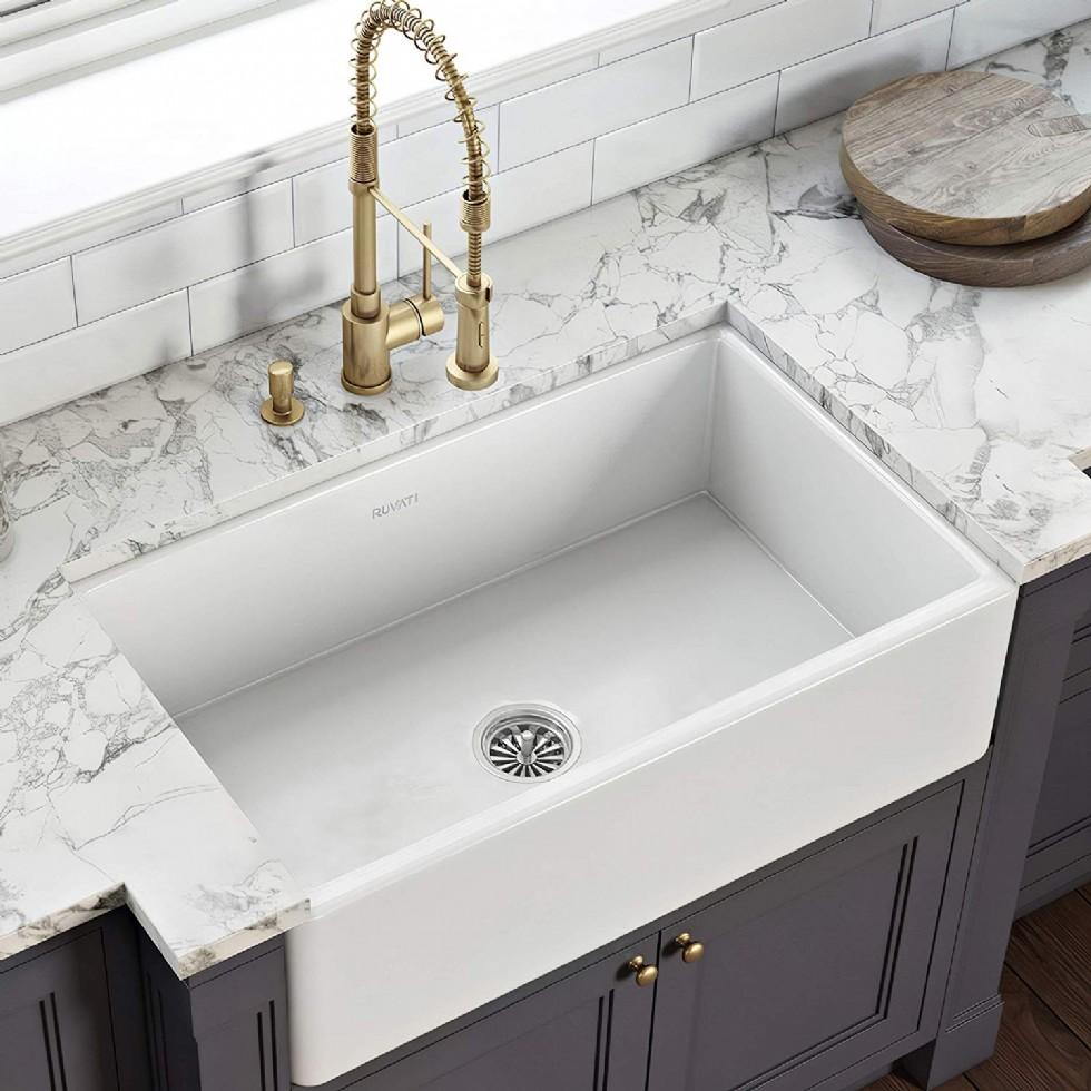 Ruvati 30 x 20 inch Fireclay Reversible Farmhouse Apron-Front Kitchen Sink Single Bowl - White