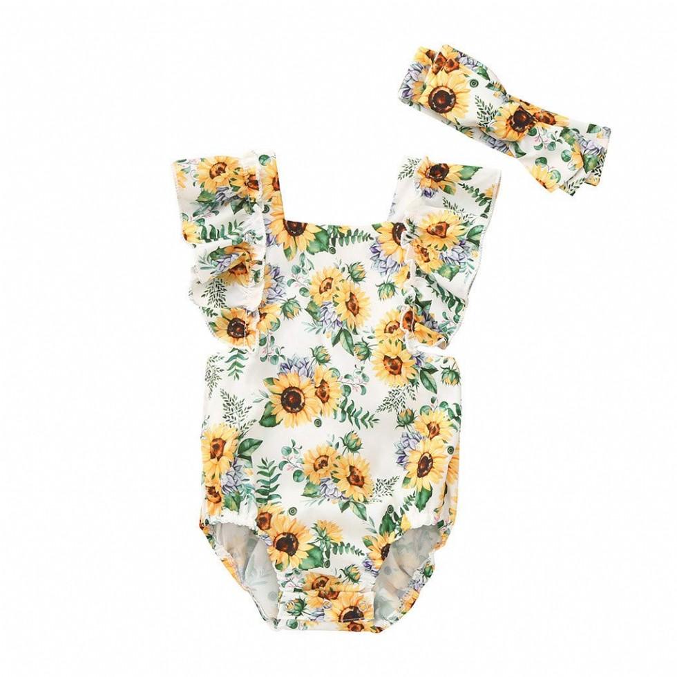 Summer Infant Baby Girls Sleeveless Sunflower Print Romper Bodysuit Clothes(Z-White,3-6 Months)