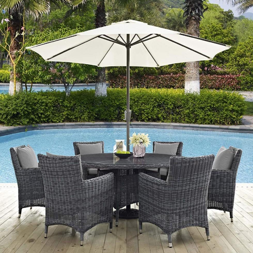 Summon 8 Piece Outdoor Patio Sunbrella Dining Set in Canvas Gray, Six with Umbrella