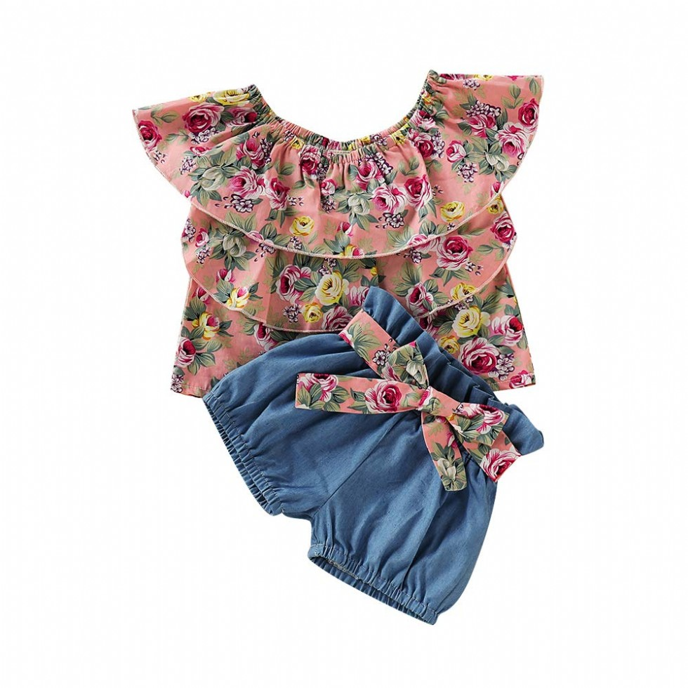 Toddler Baby Girl Floral Clothes Ruffle Off Shoulder Sunflower Crop Top+Denim Shorts Summer Oufits Set