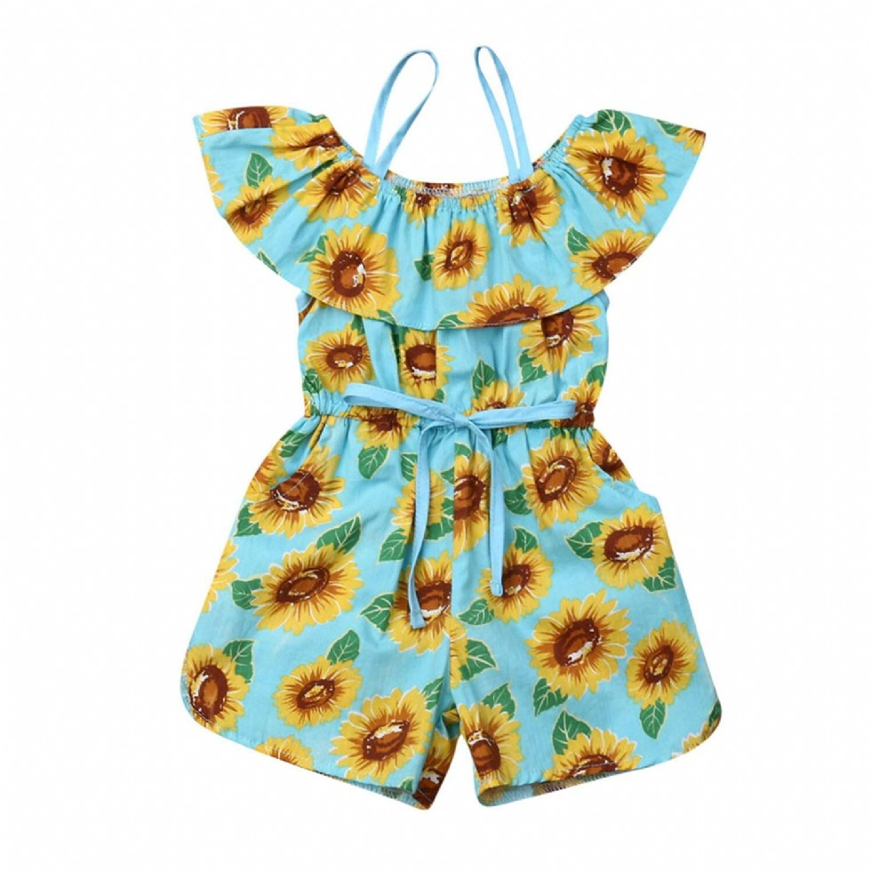 Toddler Baby Girl Sunflower Clothes Off Shoulder Ruffle Floral Romper Jumpsuit Overall Outfit Sunsuit