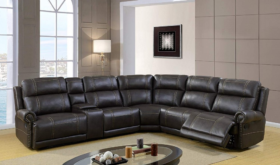 USA Island Classic Reclining Sectional Sofa Black Genuine Leather Covered with Tailored Stitch Line