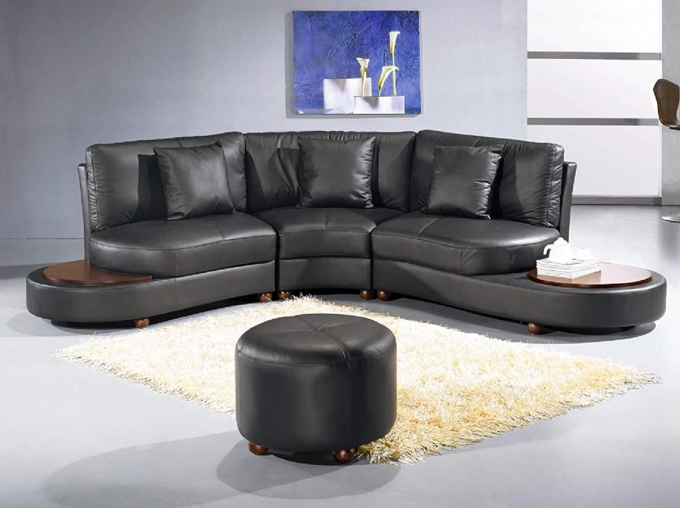 Vig Furniture Ev 2229 Contemporary Black Leather Sectional