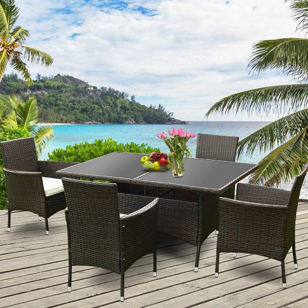 Wicker Dining Set 5 Piece Outdoor Patio Furniture Set Wicker Rattan Table and Chairs Set with Cushion for Lawn Backyard Balcony Garden