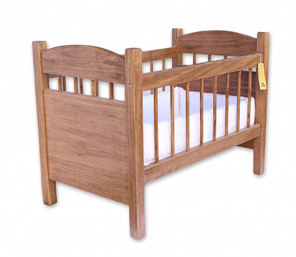 Wooden Deluxe Doll Crib, Natural Harvest Finish