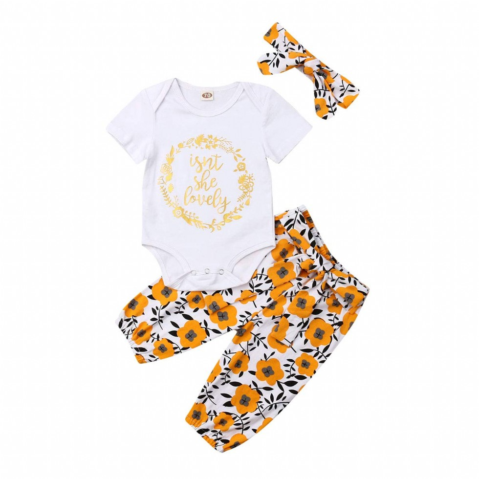 3Pcs Newborn Baby Girls Sunflower Outfits Short Sleeve Letter Printed Bodysuit Tops+Floral Pants with Headband Clothes Set