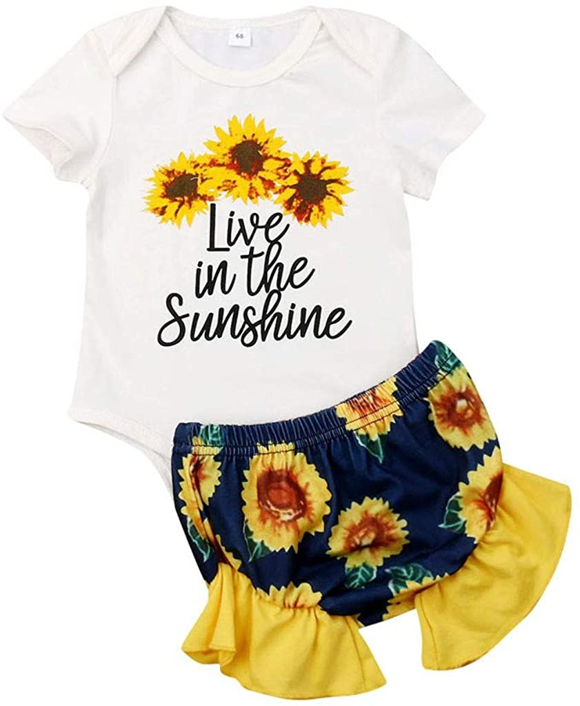 Girls Infant Floral Shorts Outfits YESOT Girls Cartoon Printed Romper Sunflowers Floral Shorts Set