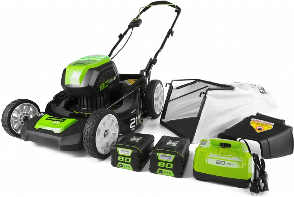 Greenworks 21-Inch 80V Lawn Mower, (2) 2Ah Batteries and Charger Included