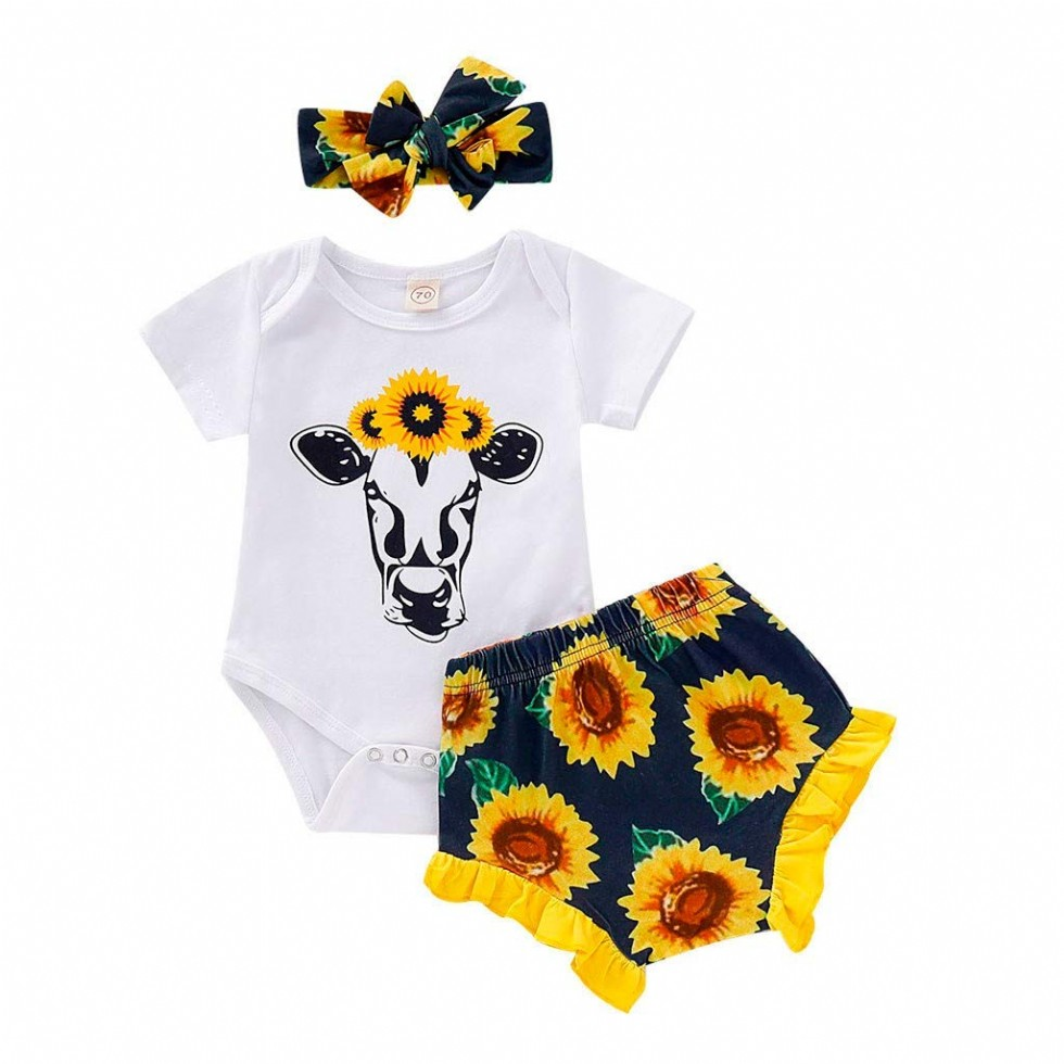 Newborn Baby Girl Clothes Mitiy Sunflower Romper + Floral Short Pants with Headband 3Pcs Summer Outfit Set