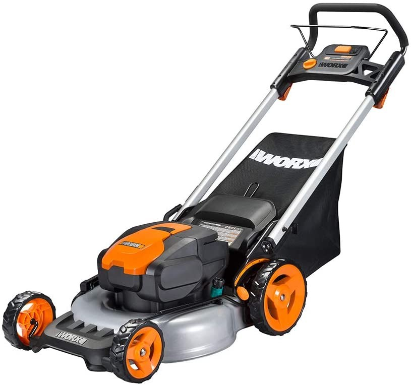 WORX WG774 Intellicut 56V Cordless 20inc Lawn Mower with Mulching Capabilities, Orange and Black