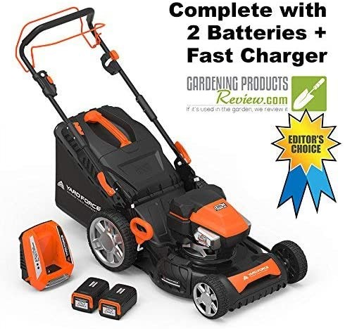 Yard Force Lithium-Ion 22inch Self-Propelled 3-in-1 Mower with Torque-Sense Control - 2 Batteries & Fast Charger included