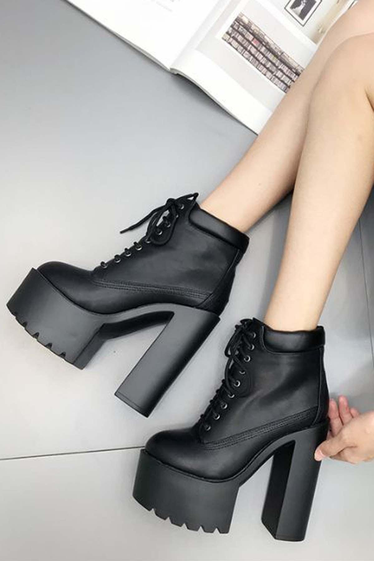 Black Pu Lace Up Platform Chunky High Heel Ankle Booties