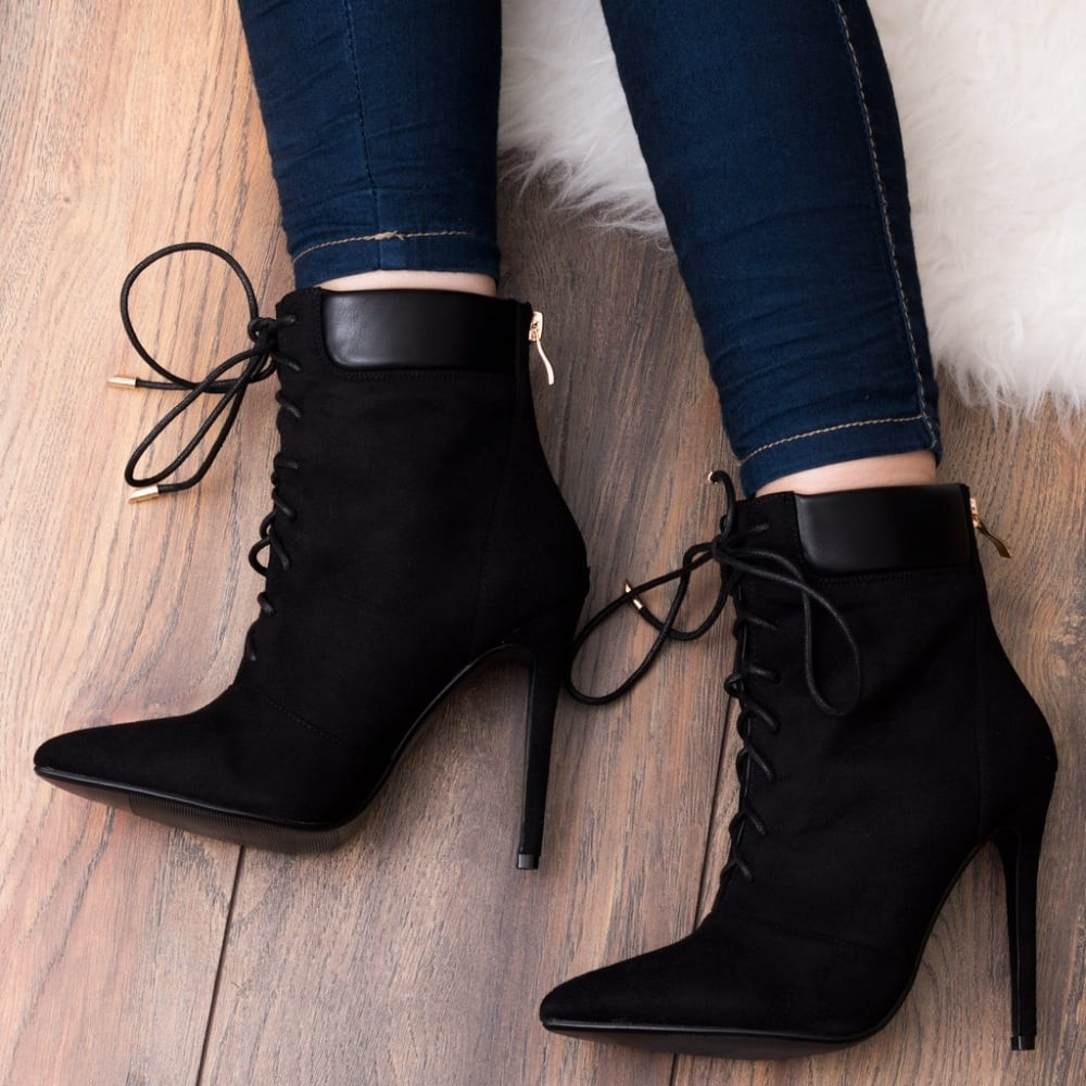 Black Suede High Heel Stiletto Ankle Boots Shoes
