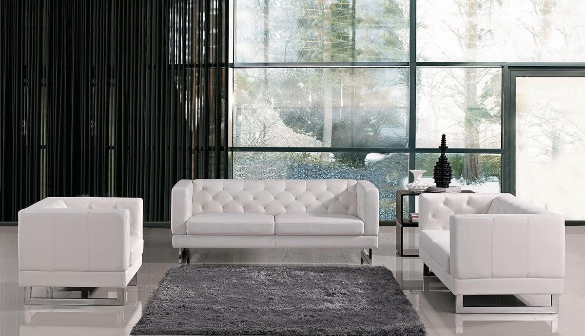 Gemma Collection Modern 3 Piece Living Room Tufted Eco-Leather Sofa Set, White