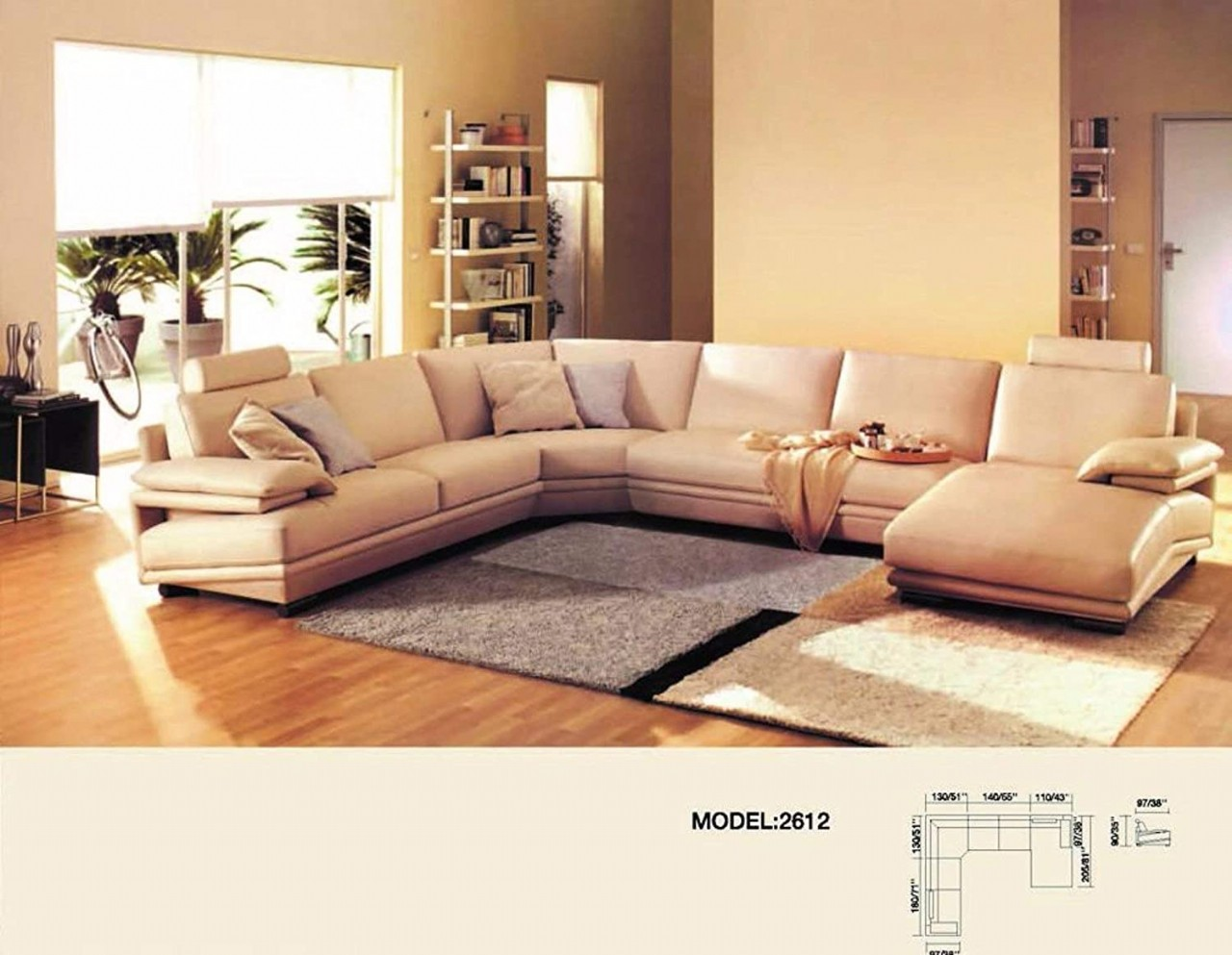 Luxury Perugia Morden Genuine Leather 6 Seater Sectional Sofa with Chaise