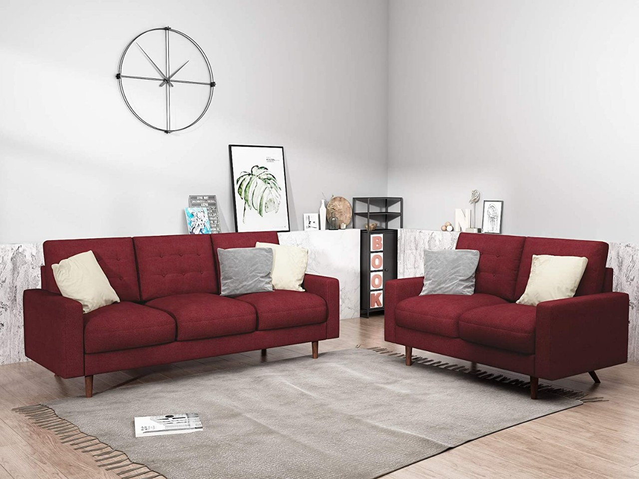 Modern Tufted Velvet Living Room Sofa Set, 2 Piece, Dark Red