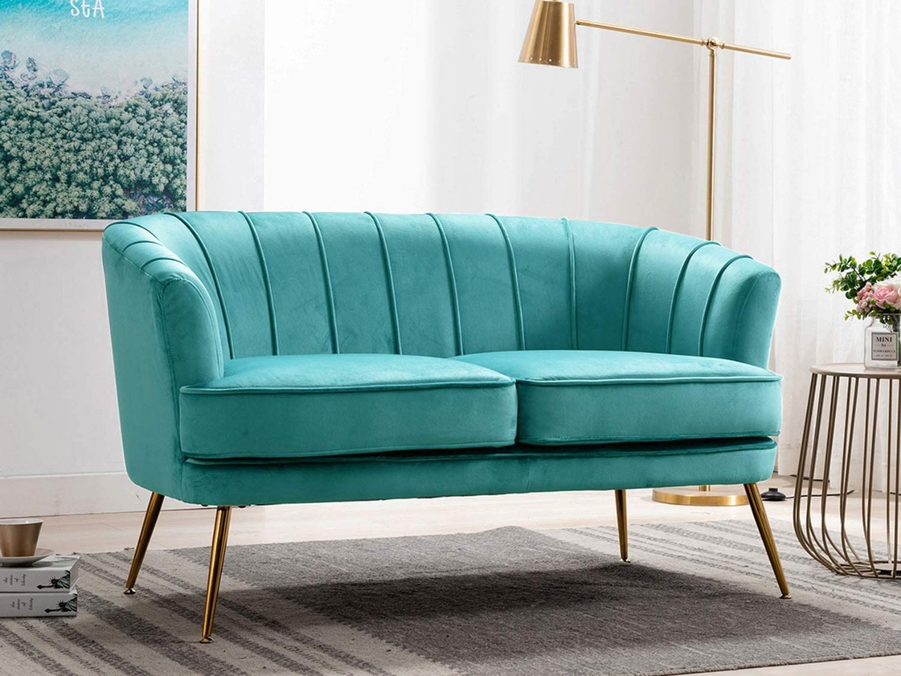 Velvet Loveseat Sofas Curved Tufted Sofas with Golden Finished Metal Legs