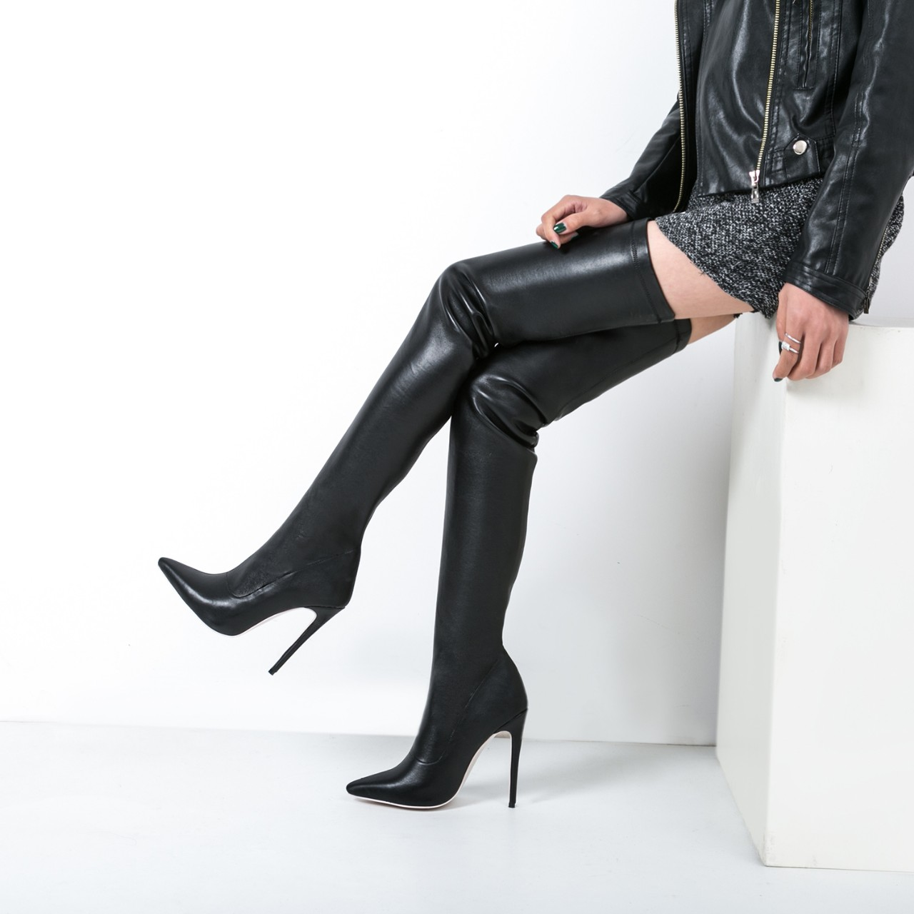 Women's shoes high heels big size Stretch boots ladies fashion