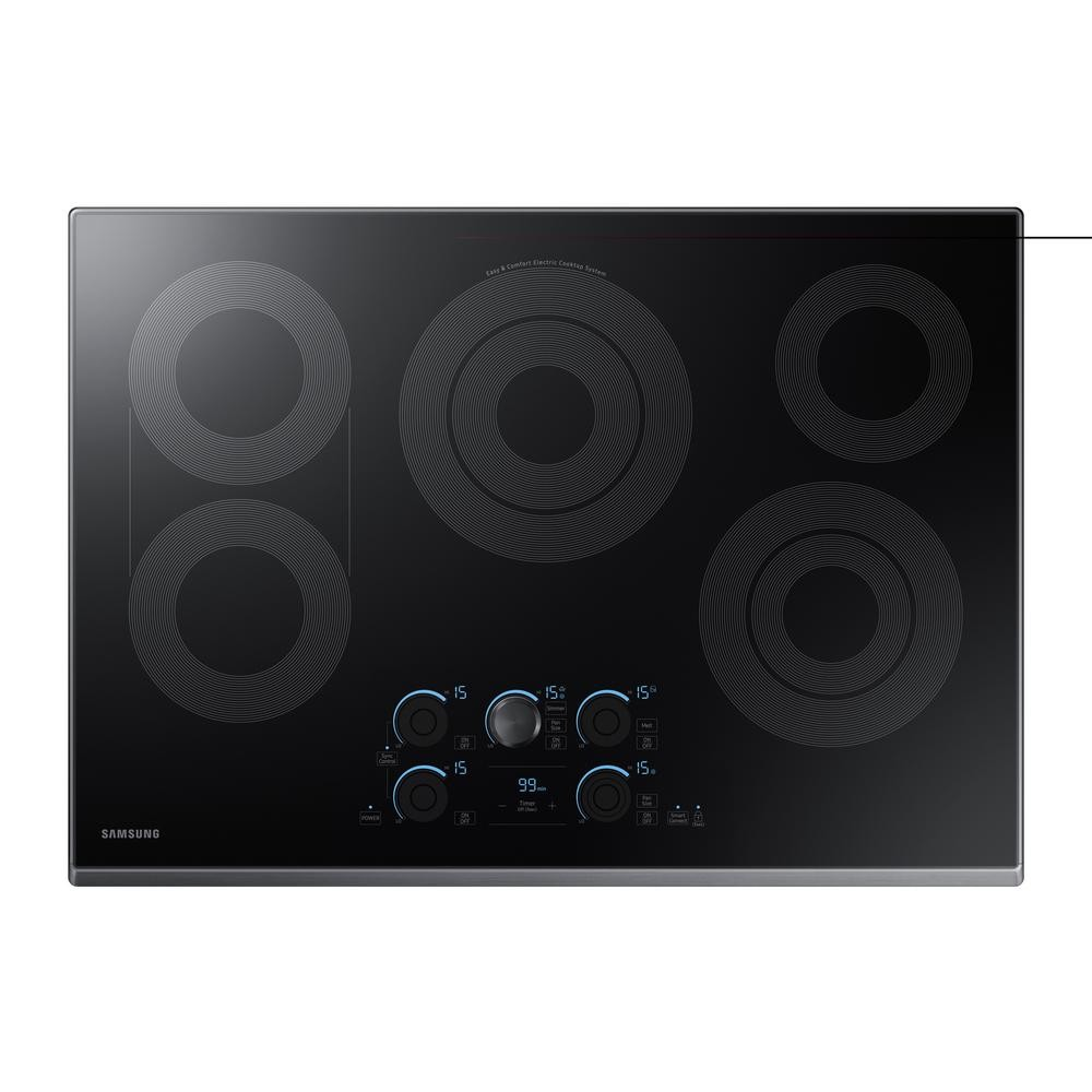 Home Depot Samsung 30 in. Radiant Electric Cooktop in Fingerprint Resistant Black Stainless