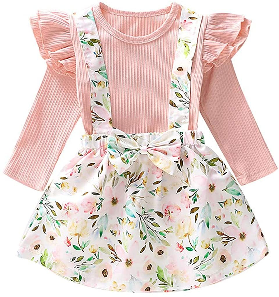 0-4T Toddler Infant Baby Girls Tops Dresses 2 pcs Cute Long Sleeve T Shirt Floral Print Strap Bow