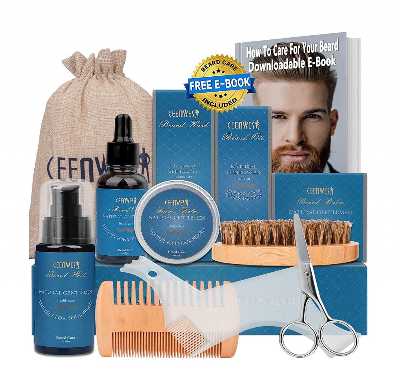 10 in 1 Beard Grooming Kit for Beard Care Unique Gifts for Men, Beard Oil, Beard Brush, Beard Comb