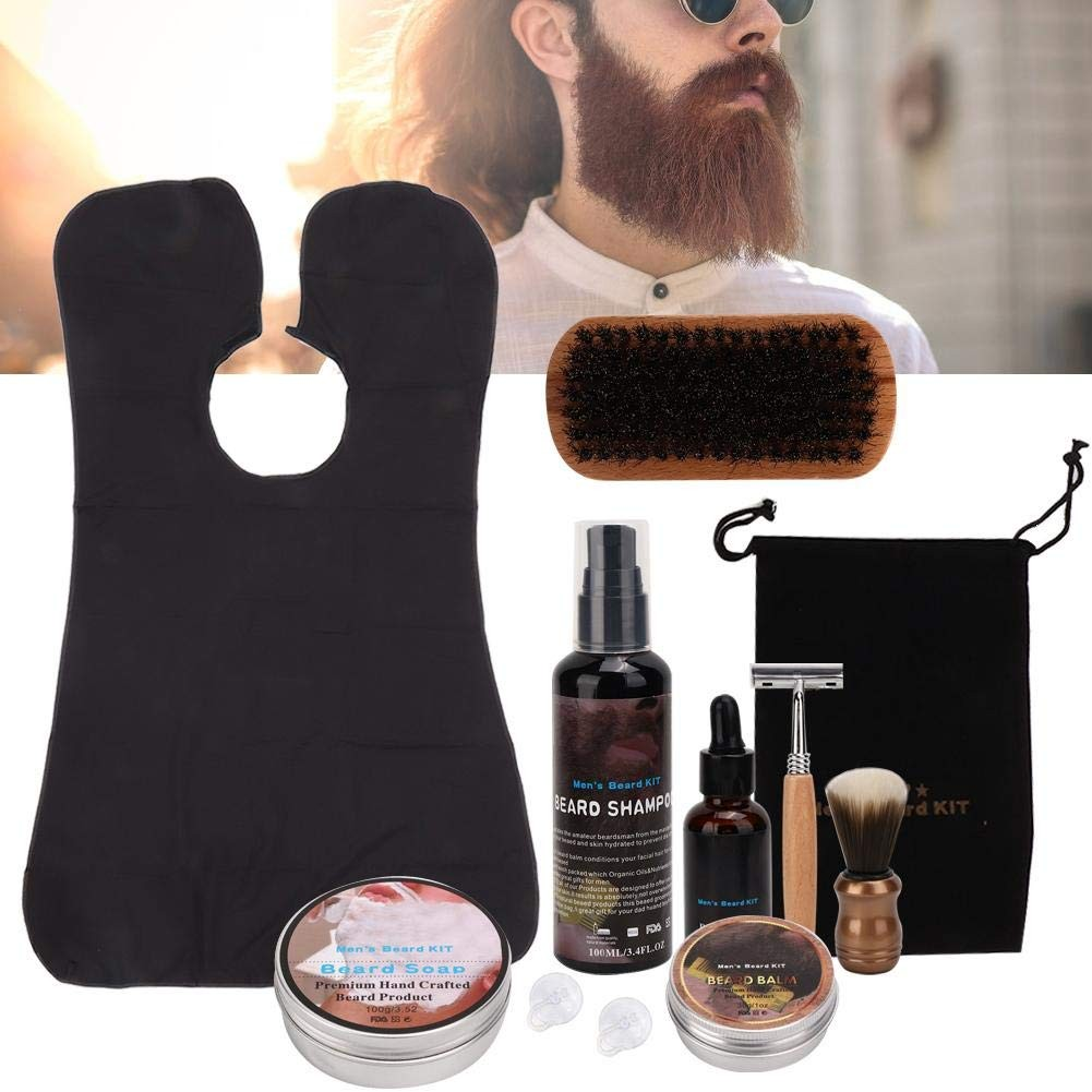 11 Pcs Men Beard Care Kit, Men's Gifts Beard Grooming Kit, Complete Moustache Care Tool with Shaving