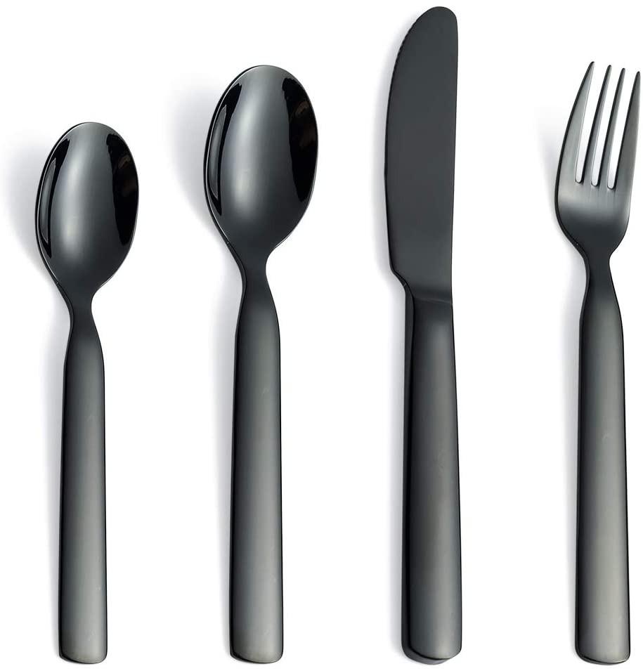 12 Piece Children's Flatware Kids Silverware Cutlery Set Black 18/10 Stainless Steel Toddler Eating
