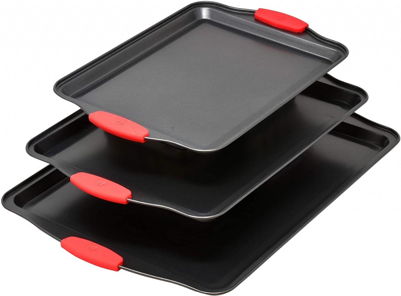 3 Piece Baking Sheets Nonstick Bakeware Set, Premium Cookie Sheet Pan Set with Silicone Grip Handles