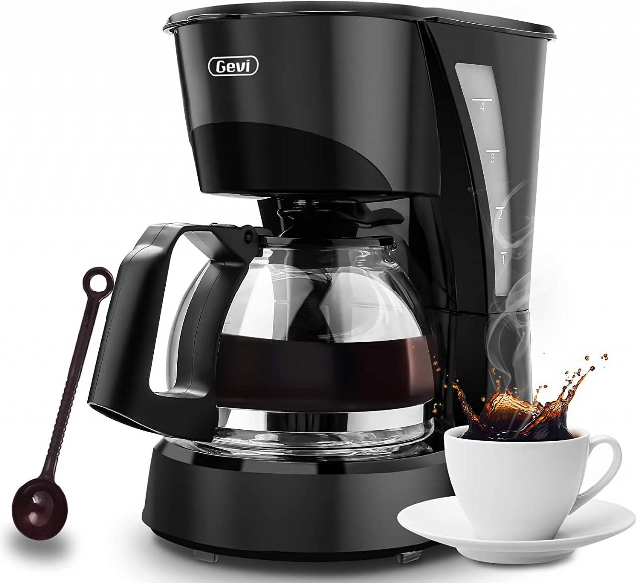 4 Cup Coffee Maker Drip Coffee Machine Silent Operation Anti-drip Coffeemaker with Coffee Pot