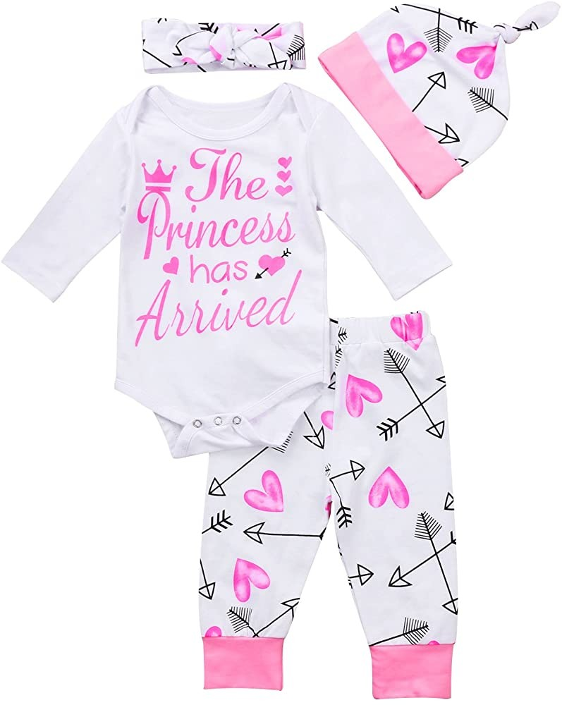 4 pcs Baby Girls Pants Set Newborn Infant Toddler Letter Romper Arrow Heart Pants Hats Headband
