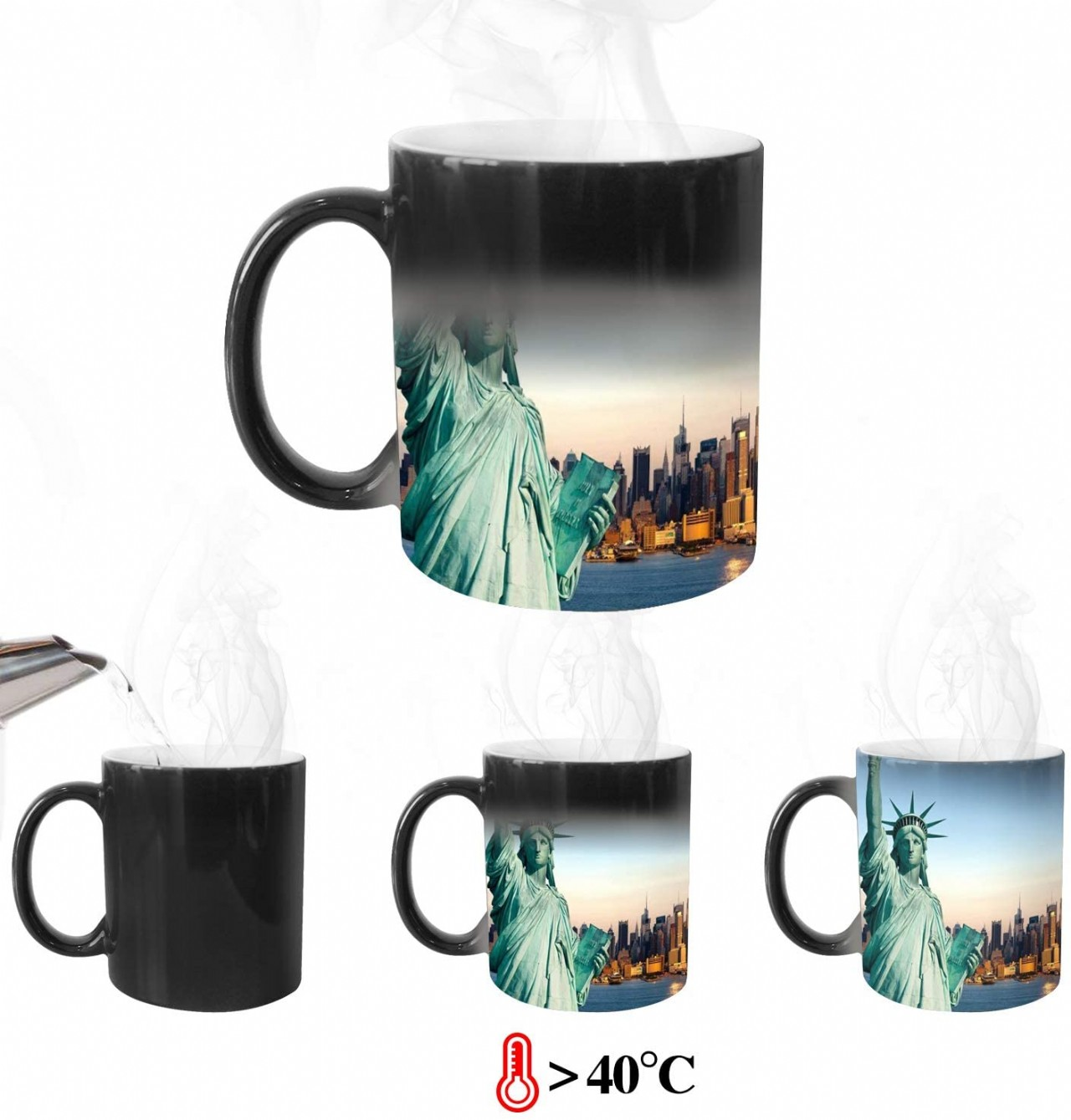 8PCS Coffee Mugs 11OZ Sublimation Blanks Coffee Mug Coffee Cup for Coffee Tea (8 pcs Heat Sensitive)
