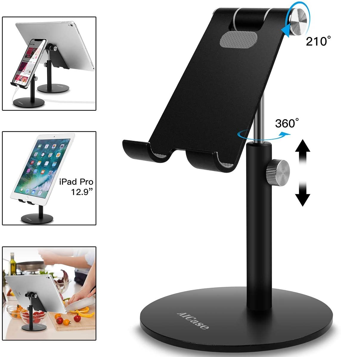 Aluminum Alloy Phone Stand Charging Mobile Dock BONUSIS Portable Cell Phone Stand Desktop Cellular Phone Mount Holder Compatible with iPhone Android Smart Phone and Other Cell Phones Black