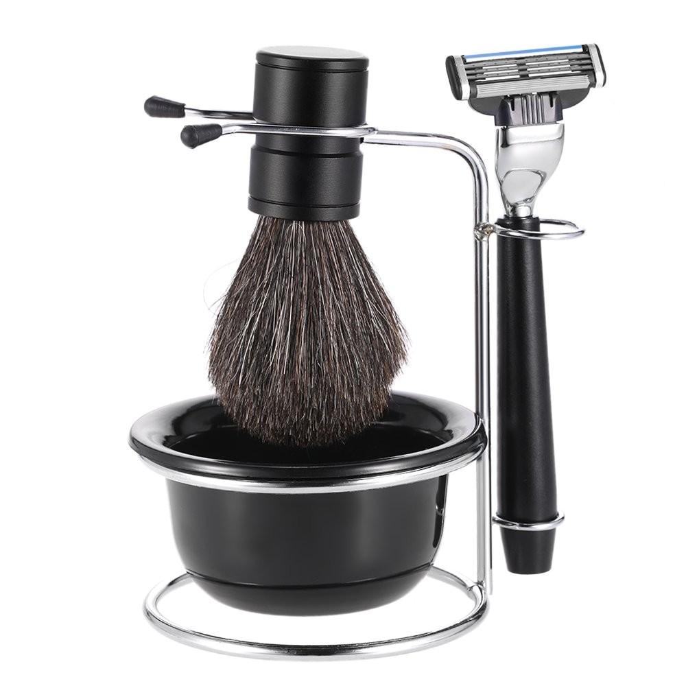 Anself 4 in 1 Men's Shaving Razor Set Badger Shaving Brush + Shaving Stand + Shaving Soap Bowl